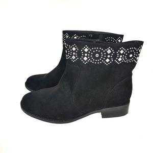 Torrid Black Suede Ankle Booties 12 Wide Studded